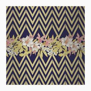 Cubierta mural de tela con flores y estampado cheurón 2 de Chiara Mennini para Midsummer-Milano