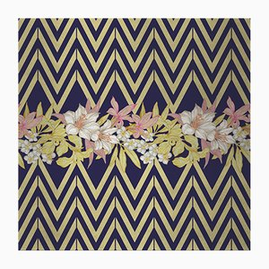 Flowers and Chevron Pattern 2 Fabric Wall Covering by Chiara Mennini for Midsummer-Milano