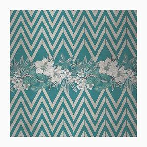 Cubierta mural de tela con flores y estampado cheurón 4 de Chiara Mennini para Midsummer-Milano