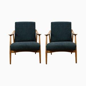 Tschechische Sessel mit schwarzem Bezug, 1960er, 2er Set