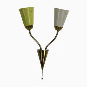 Verstellbare französische Vintage Wandlampe aus Messing