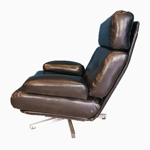 Black Leather Nucleus Swivel Armchair from Tetrad, 1970s