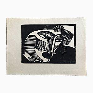 Kopf Holzschnitt von Karl Schmidt-Rottluff, 1915