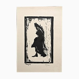 Femme de Profil Woodcut by Albert Marque, 1900