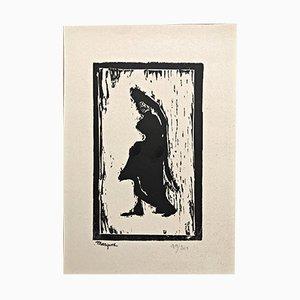 Grabado sobre madera de mujer de perfil de Albert Marque,1900