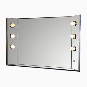 Italian Illuminated Steel & Glass Wall Mirror, 1970s