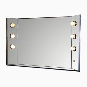 Italian Illuminated Steel & Glass Wall Mirror, 1970s