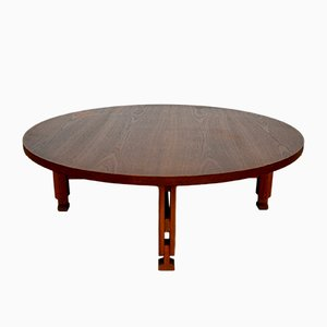 Large Round Mid-Century Italian Teak Coffee Table, 1950s