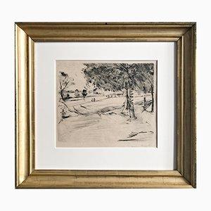 Landschaftsradierung von Lovis Corinth, 1916