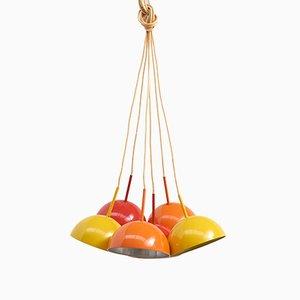 Lámpara colgante de metal con seis puntos de luz, años 60