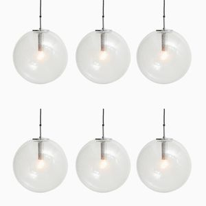 Bubble Glass Pendant Lamps from Limburg, 1970s, Set of 6