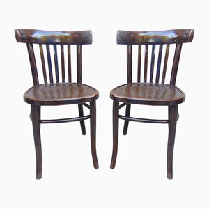 Pre-War Wooden Chairs from Bondyrz Bonded Furniture Factory, Set of 2