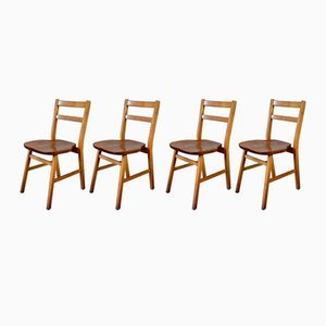 Vintage Oak Stacking School Chairs, Set of 4