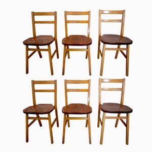 Vintage Oak Stacking School Chairs, Set of 6