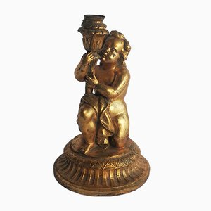 Antique Style French Gilt Iron Cherub Candle Holder, 1960s