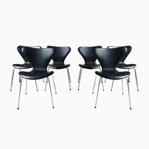 Vintage Model 3107 Chairs by Arne Jacobsen for Fritz Hansen, Set of 6