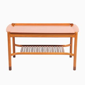 Low Swedish Mahogany & Brass Coffee Table by David Rosén for Nordiska Kompaniet, 1950s