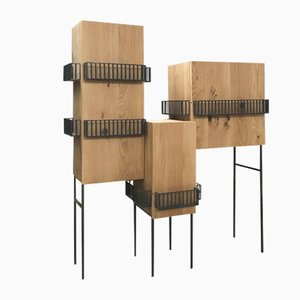 Railhiera Oak Cabinet with Railing by Domenico Orefice for Man de Milan