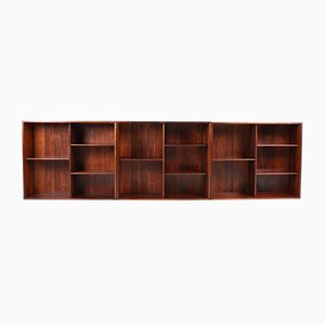 Mid-Century Danish Rosewood Wall Bookcases by Kai Kristiansen for Feldballes Møbelfabrik, 1960s, Set of 3