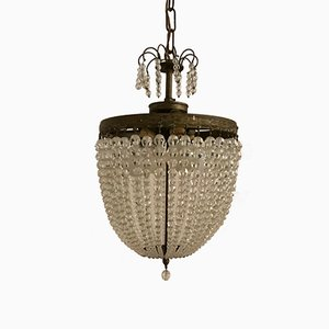 Vintage Crystal Beaded Light Pendant, 1930s