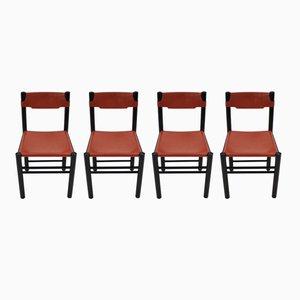 Italienische Esszimmerstühle mit Bezug aus Leder von Ibisco, 1970er, 4er Set