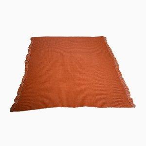 Mid-Century Welsh Orange & Cream Honeycomb Wool Blanket from Holytex, 1950s