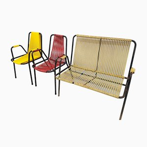 Vintage Garden Chairs and Bench from Spimenta Harkema, 1950s, Set of 3