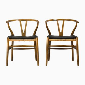 Mid-Century CH24 Wishbone Chairs by Hans J. Wegner for Carl Hansen & Søn, 1950s, Set of 2