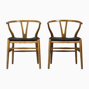 Mid-Century CH24 Wishbone Stühle von Hans J. Wegner für Carl Hansen & Søn, 1950er, 2er Set