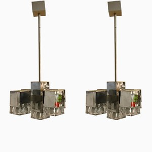Mid-Century Cubic Chandeliers by Gaetano Sciolari, Set of 2