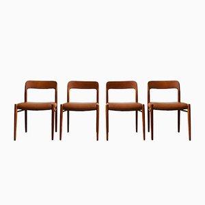 Dänische Mid-Century 75 Esszimmerstühle von Niels O. Moller für JL Moller, 1960er, 4er Set