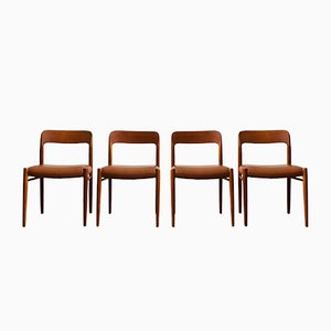 Danish Mid-Century 75 Dining Chairs by Niels O. Moller for JL Moller, 1960s, Set of 4