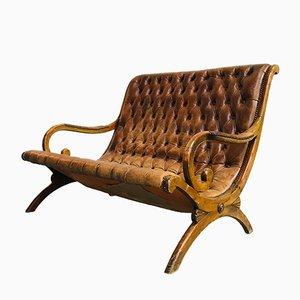 Vintage Chesterfield 2-Sitzer Ledersofa