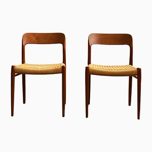 Mid-Century Danish Model 75 Dining Chairs by Niels O. Møller for J.L. Møllers, 1960s, Set of 2