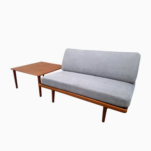 Minerva 2-Seater Sofa with Side Table by Peter Hvidt & Orla Mølgaard-Nielsen for France & Søn, 1960s