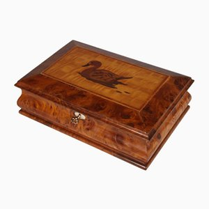 Art Deco Italian Walnut Jewelry Box, 1920s