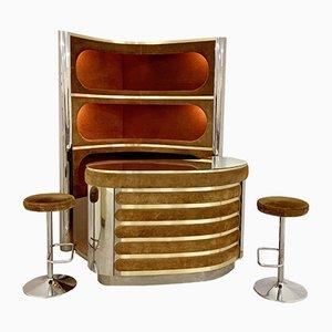 Mobile bar con scomparto illuminato e due sgabelli di Willy Rizzo, anni '70