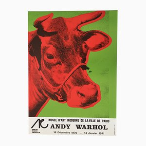 Cow Musee d'Art Moderne Paris Exhibition Poster by Andy Warhol for Imprimerie Mazarine Paris, 1970s