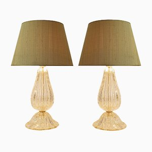 Gold Dust Murano Glass Table Lamps with Wild Silk Lampshades, 1970s, Set of 2