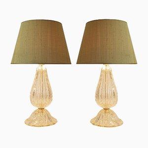 Lampes de Bureau Dorées en Verre de Murano avec Abat-jours en Soie Sauvage, 1970s, Set de 2