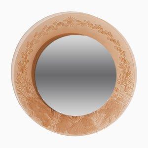 Espejo redondo de vidrio grabado, años 70