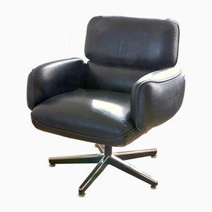 Sedia girevole in pelle nera di Otto Zapf per Knoll Inc., anni '70
