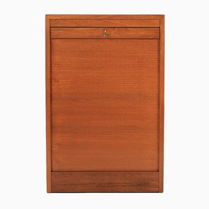 Danish Teak Cabinet with Tambour Sliding Doors, 1960s
