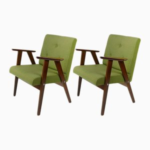 Danish Style Green Armchairs, 1960s, Set of 2