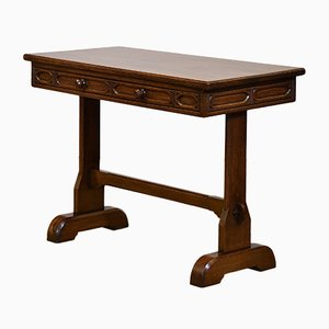 Gothic Revival Style Small Oak Desk Table, 1920s