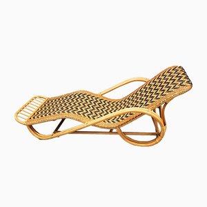 Chaise longue de ratán, años 70