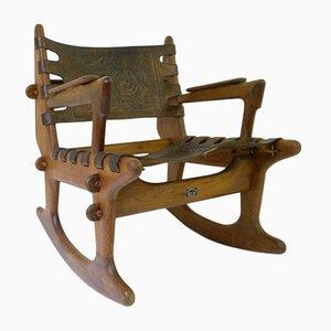Schaukelstuhl aus Holz von Angel I. Pazmino für Meubles De Estilo, 1960er