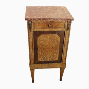 Louis XVI Walnut Bedside with Marble Top, 1910s