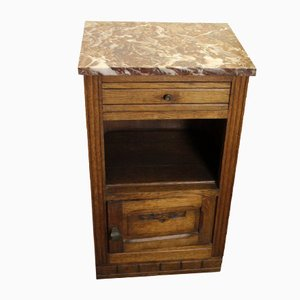 Oak Bedside Cabinet with Marble Top, 1920s