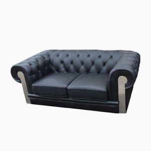 Sofá de dos plazas Chesterfield Mid-Century de cuero negro